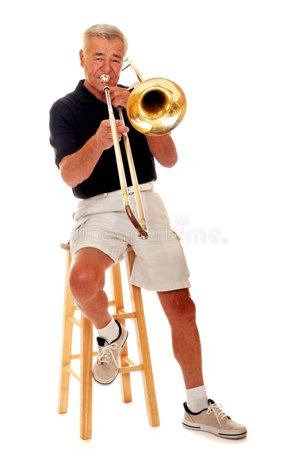 Senior Trombone Player stock photos