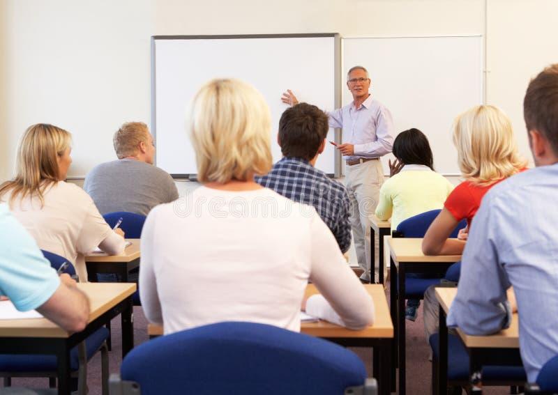 Senior tutor teaching class stock photo
