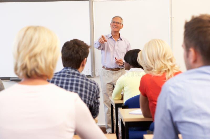 Senior tutor teaching class royalty free stock photos