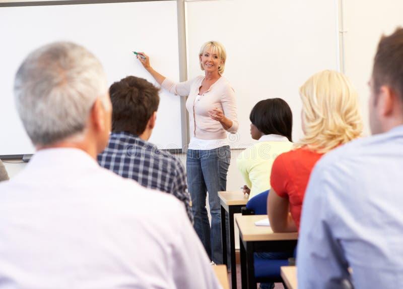 Senior tutor teaching class royalty free stock images