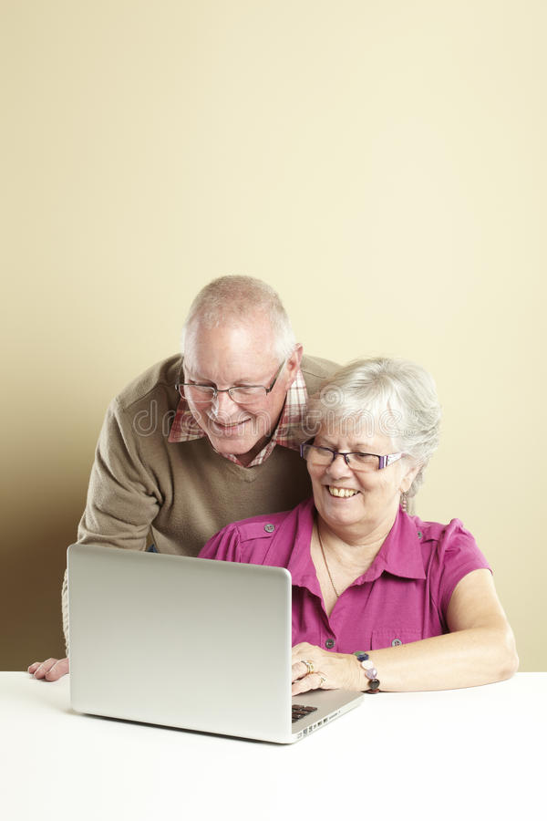 Download Senior using laptop stock image. Image of aged, happily - 25892329