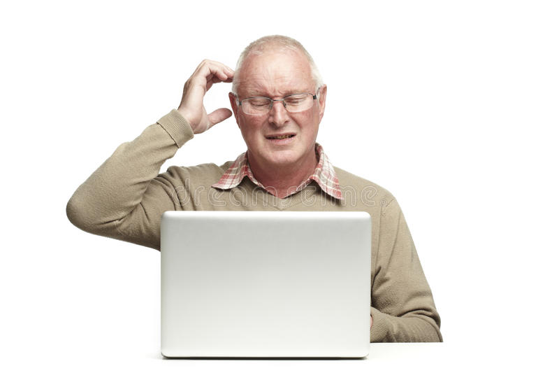 Senior Using Laptop Stock Images