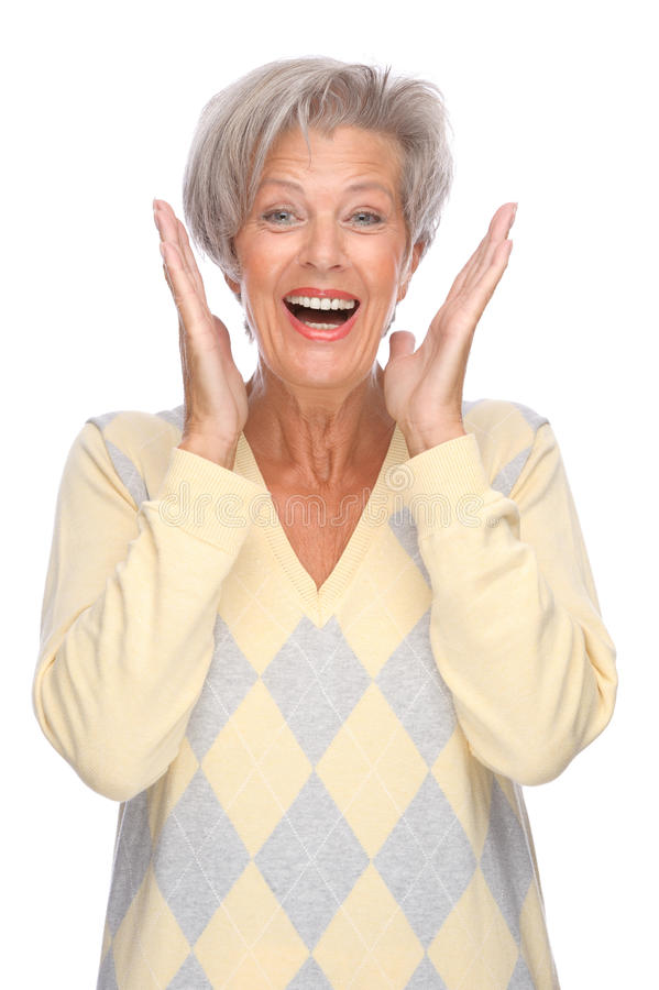 Download Senior woman stock image. Image of isolated, happy, grey - 18893143