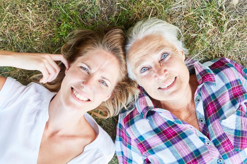Senior woman as mother with her daughter royalty free stock photos