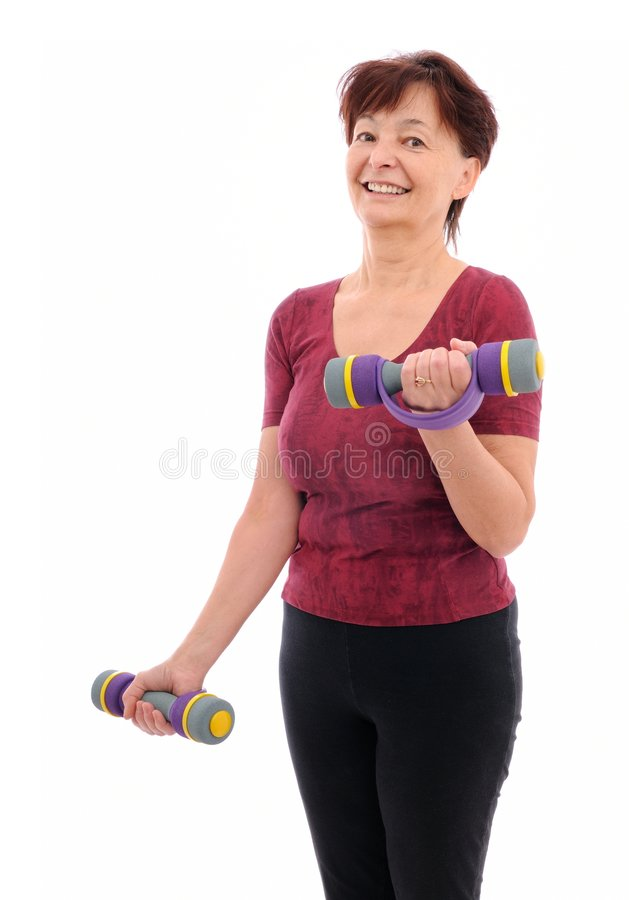 Download Senior woman with barbells stock photo. Image of bordeaux - 7653392