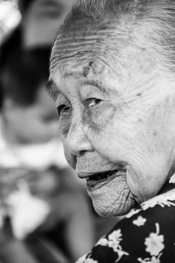 Senior woman. Black and white of senior asian woman stock photos