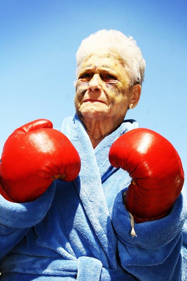 Senior woman boxer stock photo