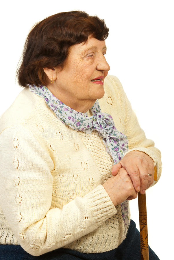 Download Senior Woman With Cane Thinking Stock Image - Image: 23946959