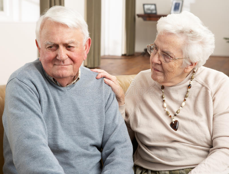 Download Senior Woman Consoling Husband Stock Photo - Image: 18868850