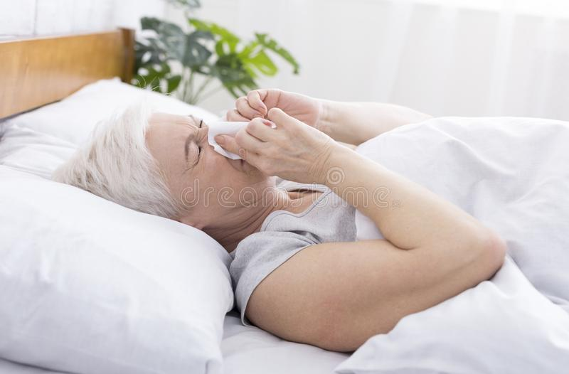 Senior woman covering nose with tissue while sneezing at home stock photos