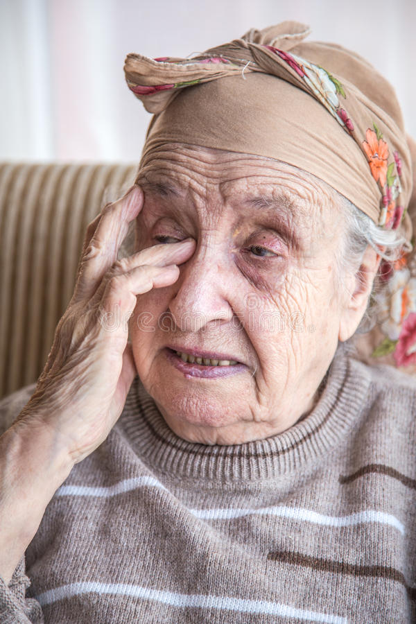Senior woman crying stock photo