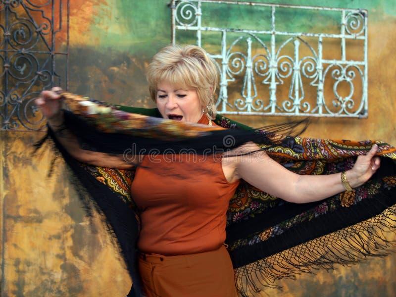 Senior woman dancing royalty free stock photos