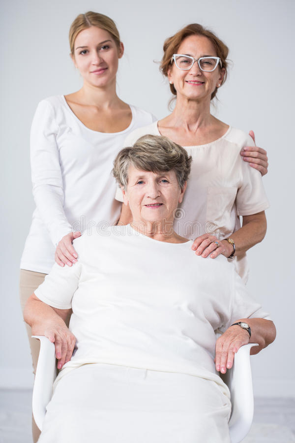 Senior woman, daughter and granddaughter stock photography