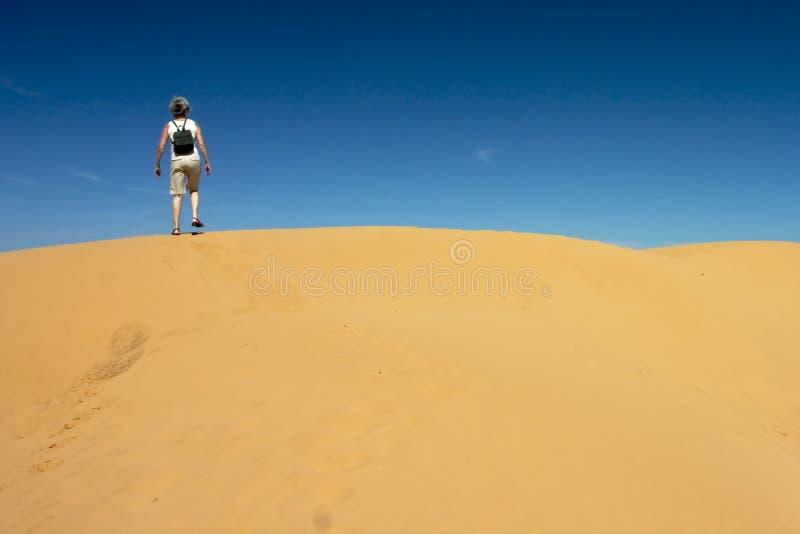 Senior Woman in the Desert royalty free stock image