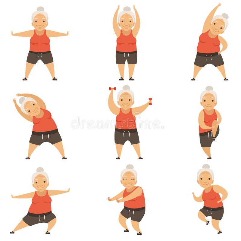 Senior woman doing morning exercises, active and healthy lifestyle of retired people vector Illustration on a white. Senior woman doing morning exercises, active vector illustration