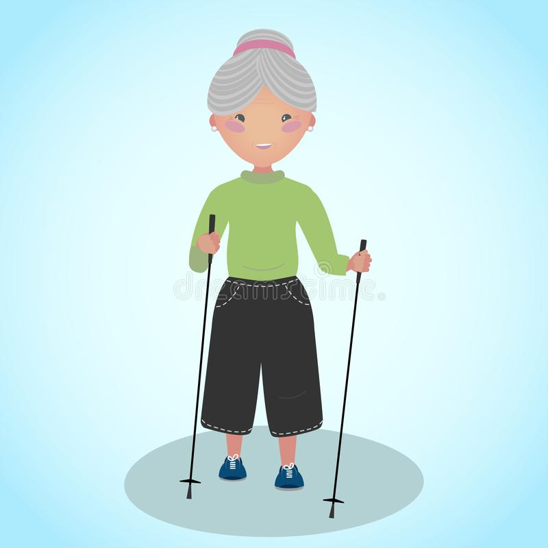 Senior woman doing nordic walking with sticks. vector illustration