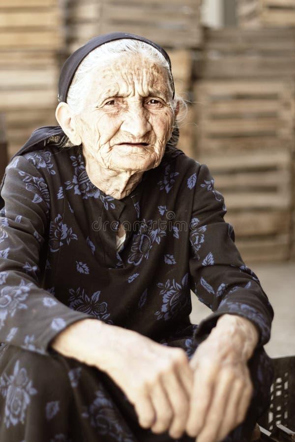 Senior woman in dress stock photo