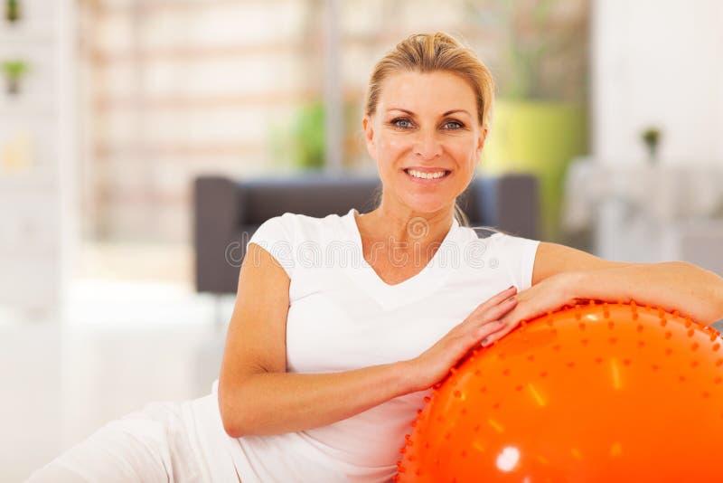 Senior woman exercise stock photos