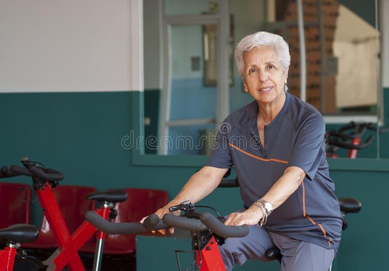 Senior woman exercising stock photo