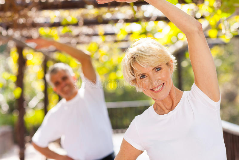 Senior woman exercising royalty free stock photography