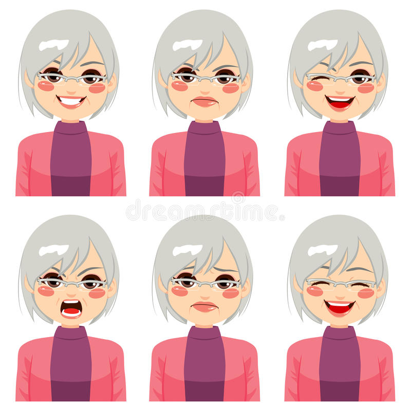 Senior Woman Face Expressions. Senior adult woman making six different face expressions set vector illustration