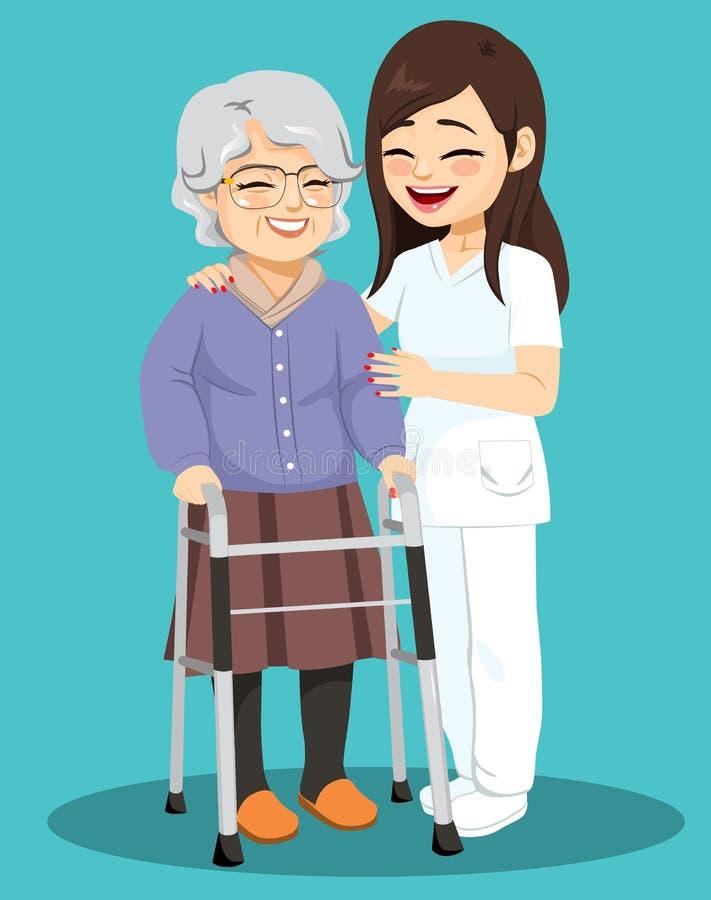 Senior Woman Female Nurse Help vector illustration