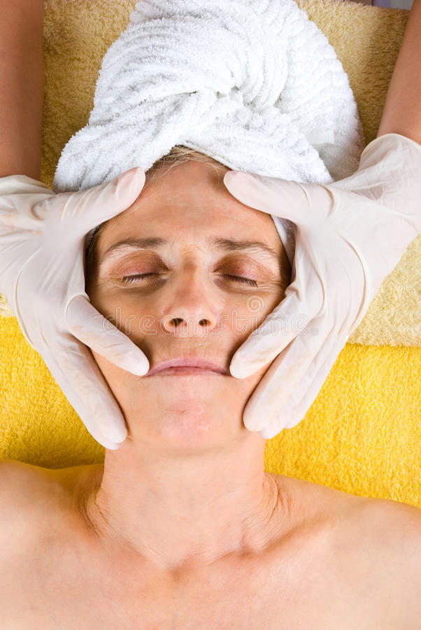 Senior Woman Having A Cosmetic Treatment Stock Photo