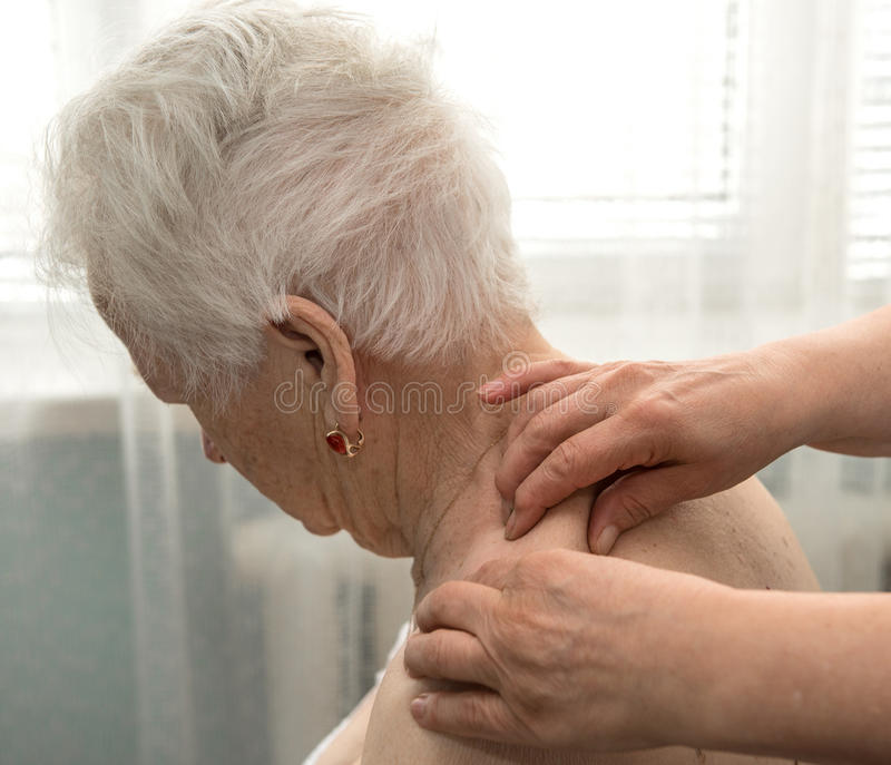 Senior woman having a massage royalty free stock images