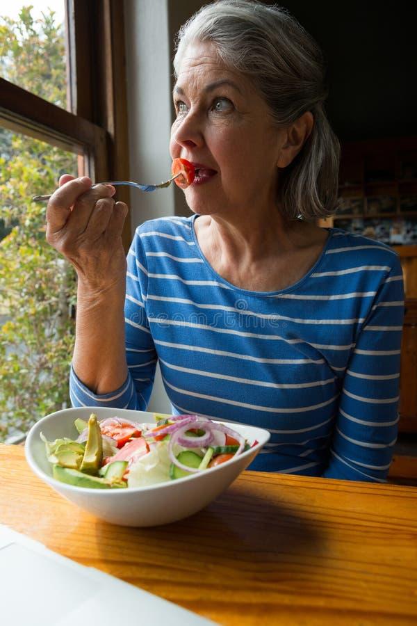 Senior woman having a salad royalty free stock photos