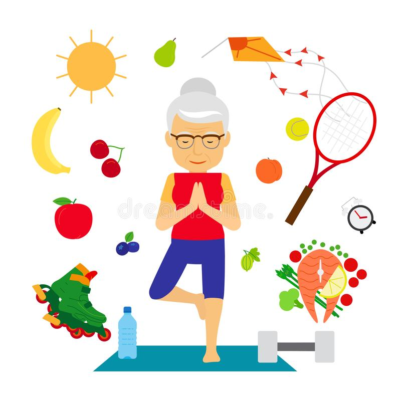 Senior woman healthy lifestyle. Old woman with healthy food, sport equipment going yoga, vector illustration stock illustration