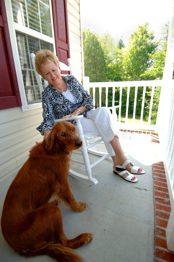 Download Senior woman and her dog stock image. Image of adult, irish - 6322647
