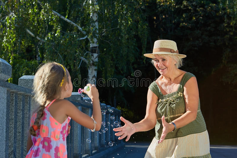 Senior woman and her granddaughter. royalty free stock images