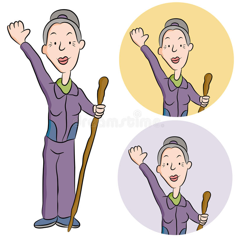 Senior Woman Hiking stock illustration