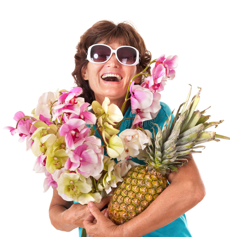 Senior woman holding bunch of flowers. stock images