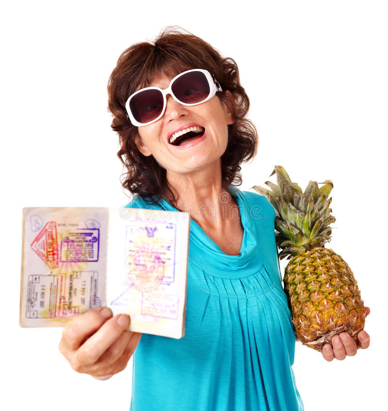 Senior woman holding bunch of flowers. royalty free stock photos