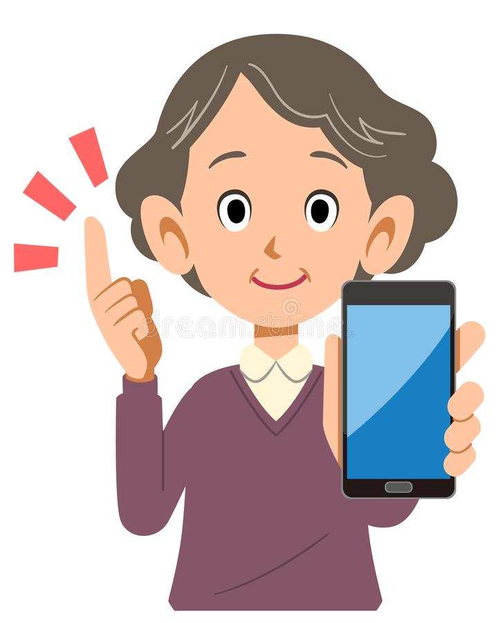 Senior woman holding smartphone in hand to explain the point. The image of a Senior woman holding smartphone in hand to explain the point royalty free illustration