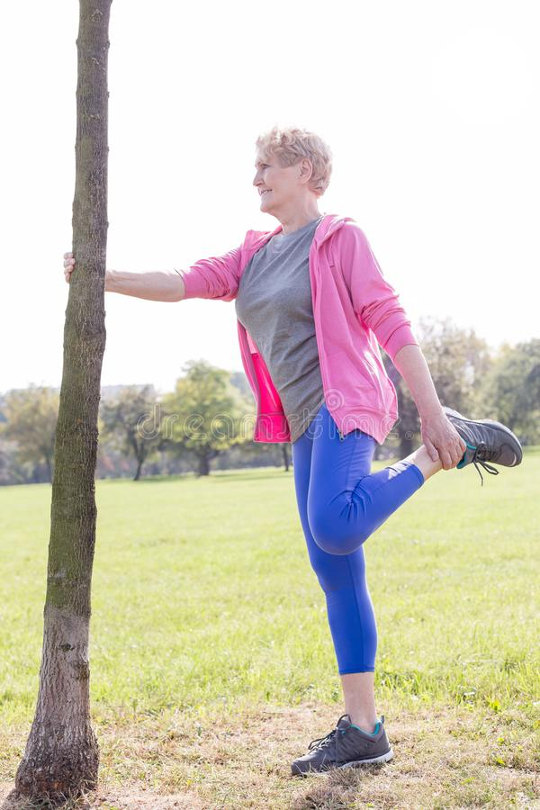 Senior woman holding tree trunk while doing leg exercise in park royalty free stock images
