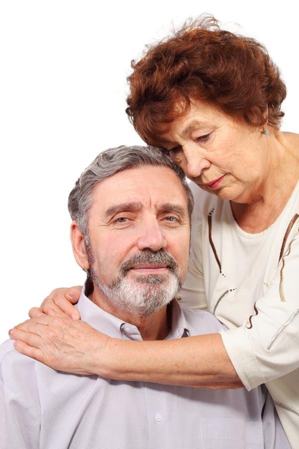 Download Senior Woman Hugs Seat Man Royalty Free Stock Image - Image: 28023506