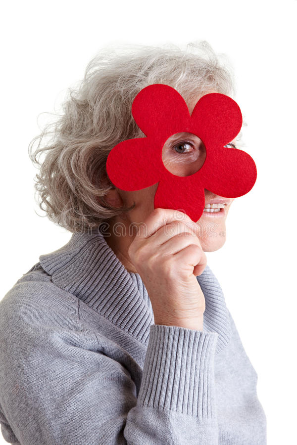 Download Senior Woman Looking Through Felt Stock Image - Image: 18797313