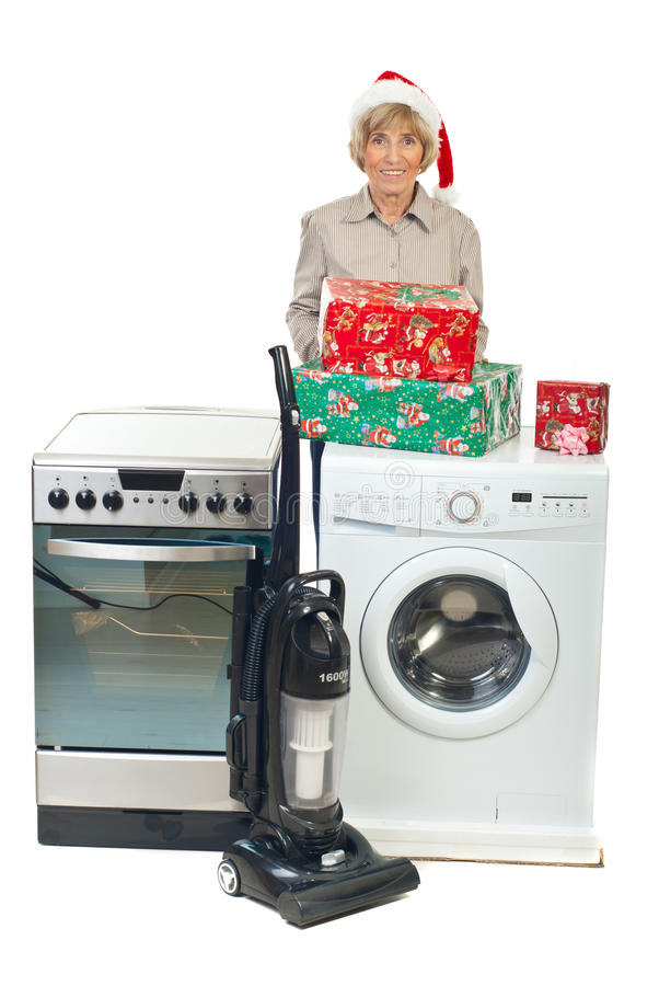 Senior woman make Christmas promotion stock photo