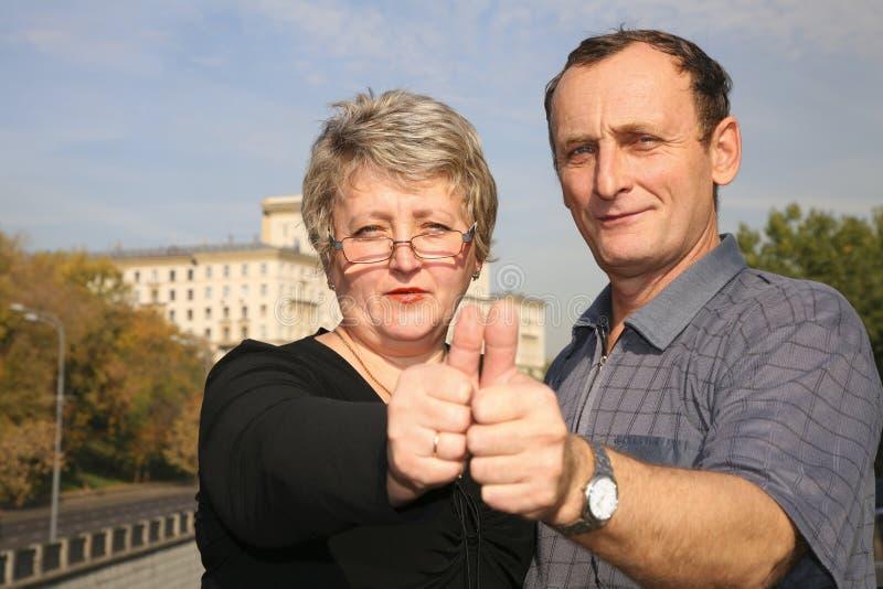 Senior woman and man royalty free stock photography