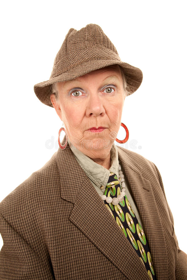 Senior Woman in Man's Clothing royalty free stock images