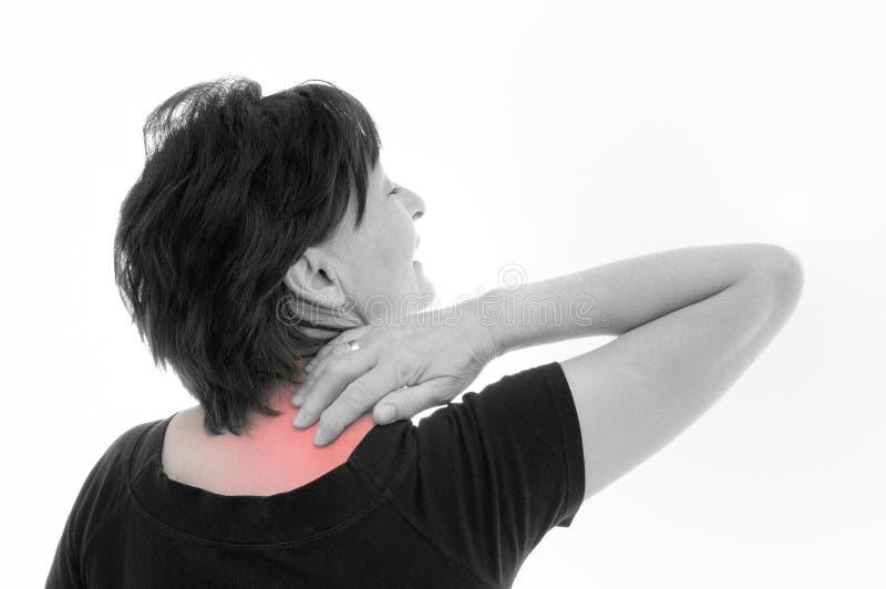 Senior woman with neck pain stock photos