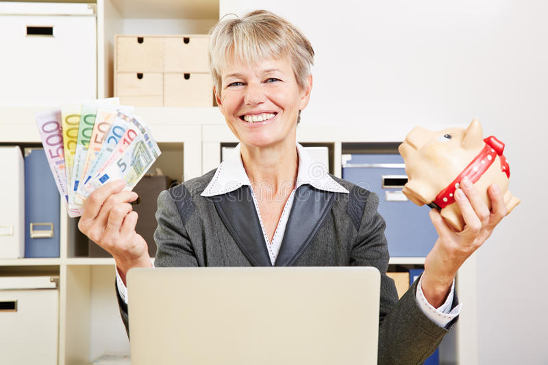 Download Senior Woman In Office With Money Stock Image - Image: 38206917