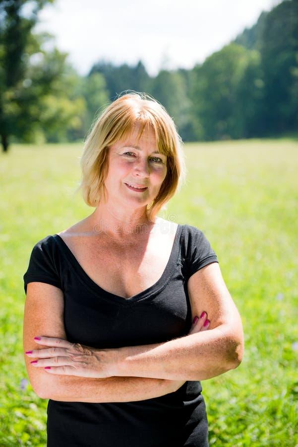 Senior woman outdoor portrait royalty free stock photos
