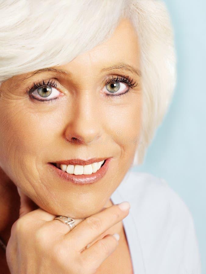 Senior woman portrait close-up stock photo