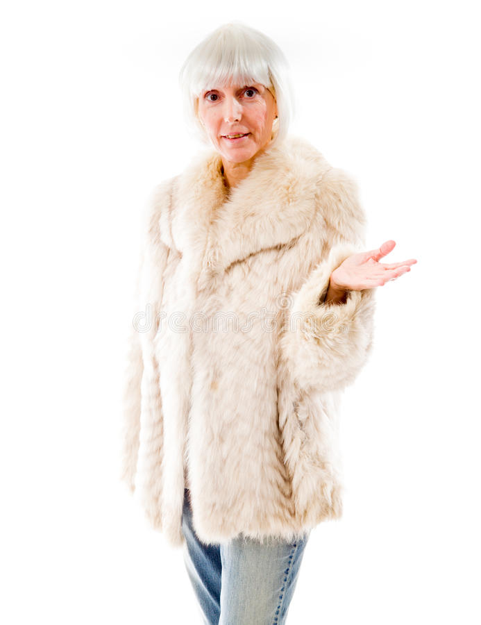 Senior woman pretesting something. Mature woman shot in studio and isolated on a white background stock image