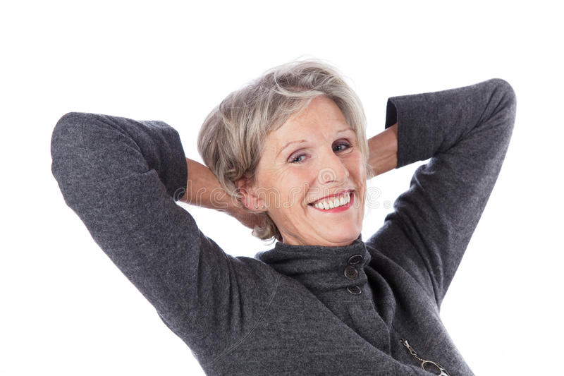 Senior woman relaxing stock photography