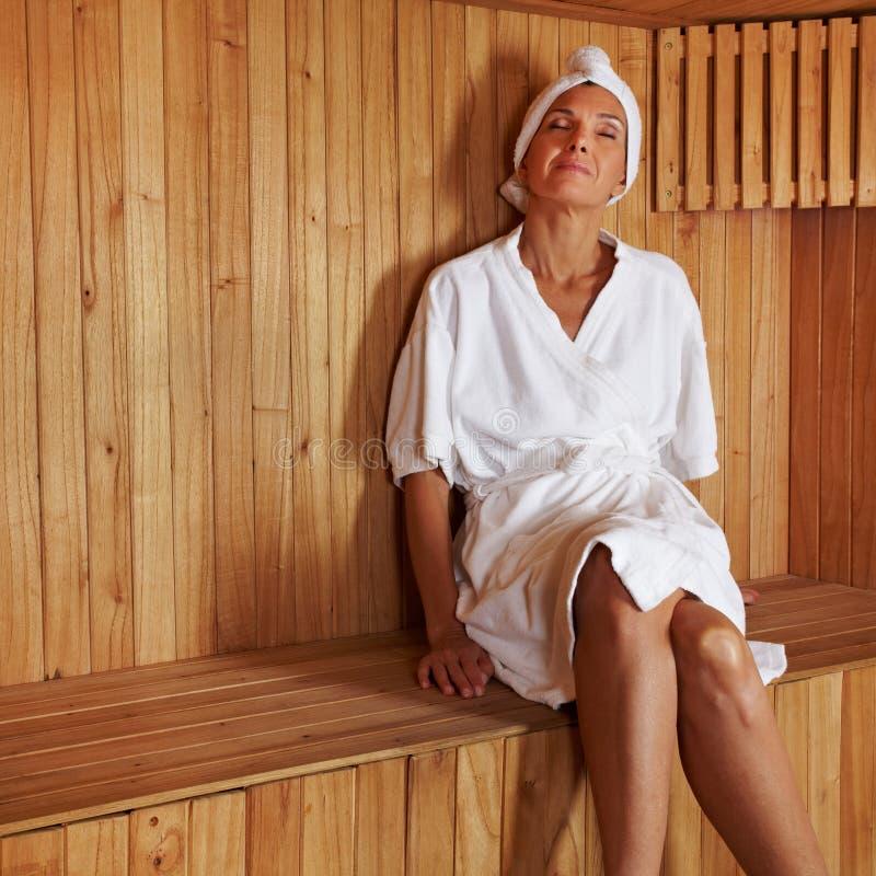 Download Senior Woman Relaxing In Sauna Stock Photo - Image: 24862914