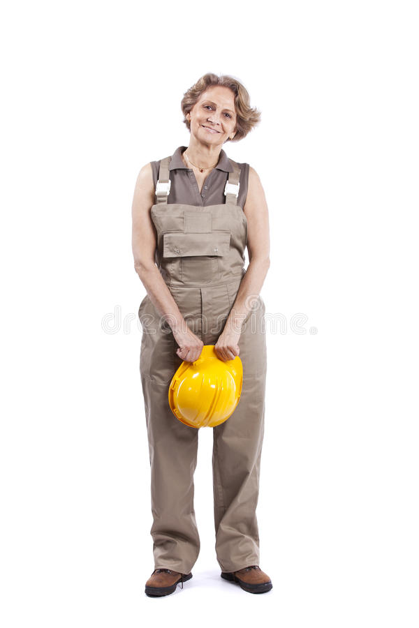 Senior woman with a safety hat royalty free stock photo